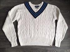 Polo Ralph Lauren Cotton Sweater White Cable Knit V-Neck Tennis Cricket Men L