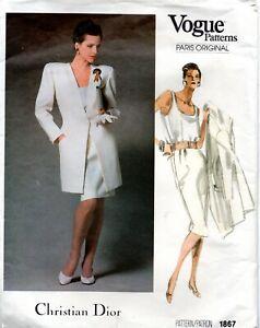 80s Vogue Paris Original Sewing Pattern 1867 Christian Dior Jacket Top Skirt 12