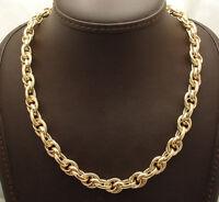 Technibond Textured Interlocked Rolo Chain Necklace 14K Yellow Gold Clad Silver
