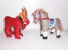 2 DDR Animales Figuras Para Bebés Infantil Pedagógicos Juguete Caballo Burro