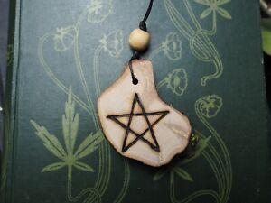 Apple & Mistletoe Wood Pentagram Pendant - Pentacle - Pagan, Witchcraft, Wicca