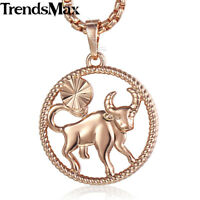 12 Zodiac Sign Constellation Rose Gold Plated Pendant Horoscope Necklace