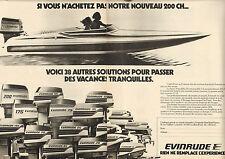 Publicité 1977  (Double page)   Moteurs de bateaux EVINRUDE 200 CH