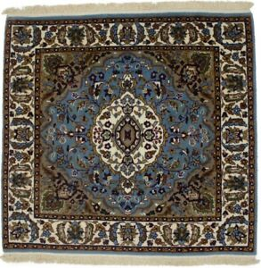 Handmade Blue Thick Pile New Square 3X3 Floral Design Oriental Area Rug Carpet