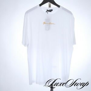 NWT Versace Made Italy Taylor Fit White Gold Autograph Embroidery Tee Shirt 2XL