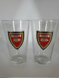 2) 2006 Fine Pewter Officially Licensed NFL Kansas City Chiefs Pint Beer Glasses