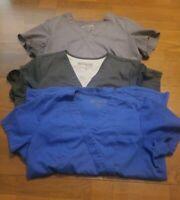 Med Greys Anatomy by Barco Scrub Top Lot of 3--Grey, Dark Grey and Blue M