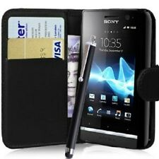 BLACK Wallet Phone Case CARD SLOT per Sony Experia J / ST26i / ST26a