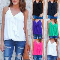 Summer Women Plus Size Vest Top Strap Ruffle V Neck Ladies Cami Blouse Shirt Tee