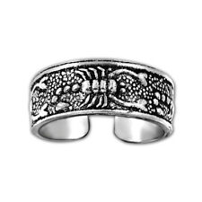 solid 925 Silver Oxidized Scorpion Adjustment Toe Ring , Oxidized Toe ring