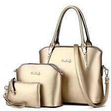 Luxury Women's PU Combo Leather Handbag+Shoulder Bag+Purse 3pcs