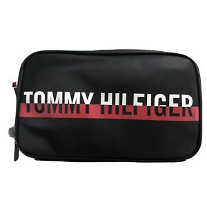 Tommy Hilfiger Men Women Toiletry Cosmetic Travel Two Compartments Black Bag