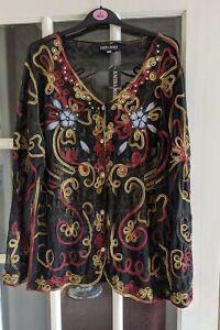 New!! Amira Mode Black Sheer Stretch Button Up Cardigan Size XXL (18/20)