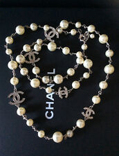 CHANEL CLASSIC EMBELLISHED 5 CRYSTAL CC's PEARL LONG NECKLACE