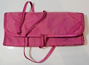 Mary Kay Fold Pink Fabric Cosmetic Make up Organizer Travel Bag Straps 4 Pockets