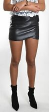 Leather Mini Skirt/Belt SKELT - NEW BRAND - BLACK NAPPA LEATHER- LOOK