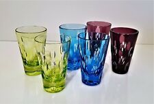 Faberge Bubbles Multi-Color Cased Cut To Clear Crystal Vodka Shot Glasses Set