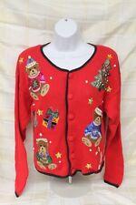 Women's Small Nutcracker Ugly Beaded Christmas Sweater Cardigan Tree Bears