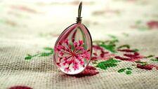 Resina de flores secas rosa en forma de Lágrima Colgante Plata Joyería suministros C902