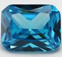 8X10mm 3.21ct AAAAA Sea Blue Sapphire Diamonds Cut Emerald VVS Loose Gemstone