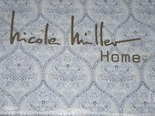 Nicole Miller Home 100% Cotton Queen Sheet Set Floral Trellis Blue White New