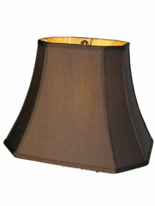 16 Inch Silk Shantung Black Lamp Shade Rectangle Cut Corner Gold Fabric L