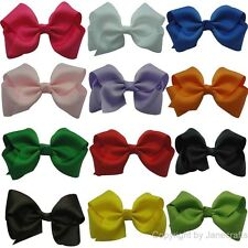 """12pcs 3.5"""" Girl Baby Classic Boutique Hair Chunky Bow Wholesale Mix 12 Color"""