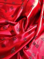 """CHINESE SATIN BROCADE FABRIC Red With Black Words  45""""  - Per Metre. M53-1 Mtex"""