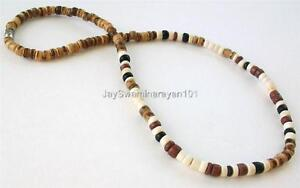 """8mm Tiger Brown Coco Wood Beads Surfer Choker Wooden Necklace Men/'s Teen/'s 18/"""""""
