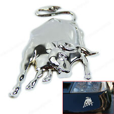 3D Silvery Chrome Metal Bull Ox Emblem Car Truck Motor Sticker Auto Body Decal