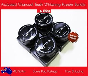 LuxSmile Teeth Whitening Powders Pack of 4 Natural Organic Eco-Friendly Powder