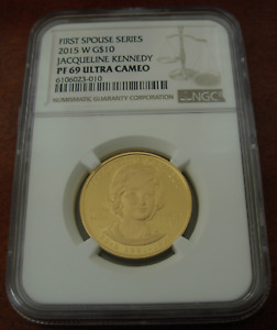 US 2015 W Gold 1/2 oz $10 NGC PF69UC First Spouse Series Jacqueline Kennedy