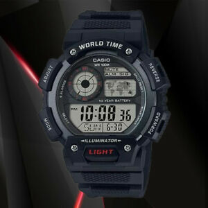 Casio AE-1400WH-1AV World Time 5 Alarms Watch 10 Year Battery LED Light New