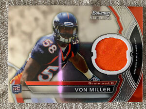 VON MILLER DENVER BRONCOS 2011 BOWMAN STERLING GAME-USED PATCH ROOKIE CARD SP