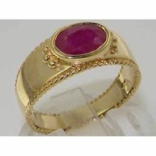 9ct Yellow Gold Ruby English Solitaire Wedding Band Ring with Milgrain Edging