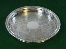 Round Silver Plate Serving Tray for Glass Victorain