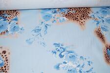 Baumwolle Stretch Stoff hellblau Blumen Leo Meterware #0340