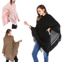 Women Cloak Hooded Sweater Knit Batwing Top Poncho Cape Coat Tassel Outwear ZYL