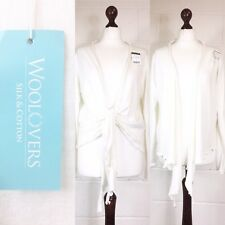 Woolovers Ivory Waterfall Cardigan Tie Front Silk Cotton New Lagenlook 14-16 X83