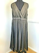 Monsoon Ladies Cocktail Dress Mink & Black Sleeveless Lace Layered Size UK 18