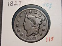 1827 CORONET HEAD LARGE CENT VG + F NICE COMBINED SHIPPING
