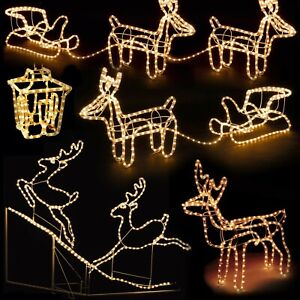 Christmas LED Light Up Reindeer Sleigh Lantern Rope Light Outdoor Decorations