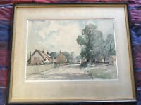 Vintage original framed signed Watercolour painting High Bickington Umberleigh