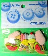Dress It up Cyb1858 Plastic Craft Button Embellishment Watermelon Cupcakes (z102