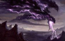 Framed Print - Massive Purple Thunder Dragon Spitting Lightning (Picture Poster)