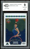 2008-09 Topps Chrome #185 Kevin Love Rookie Card BGS BCCG 9 Near Mint+