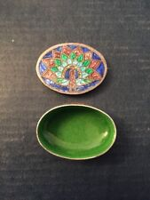 SMALL INDIA STERLING SILVER CLOISONNE ENAMEL TRINKET BOX - PEACOCK - Hallmarked