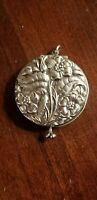 ANTIQUE REPOUSSE FLORAL SILVERPLATE SILVER PLATE CHATELAINE MIRROR COMPACT