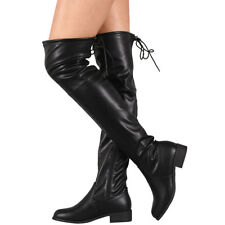 New Black Round Toe Drawstring Tie Lace Up Womens Over The Knee OTK Riding Boots