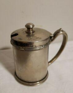 Vintage Pendennis Club Silver Hinged Mustard Pot Nec Tenui Penna Logo